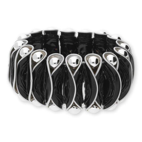 Modern Caps Design MCD01-55-16/1 Armband Schwarz mit silberfarbenen Perlen
