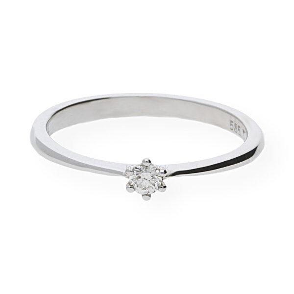 JuwelmaLux Ring 585/000 14 Karat Weißgold mit Brillant JL10-07-1865