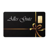 """Goldbarren Geschenkkarte """"Alles Gute"""" 1 Gramm..."""