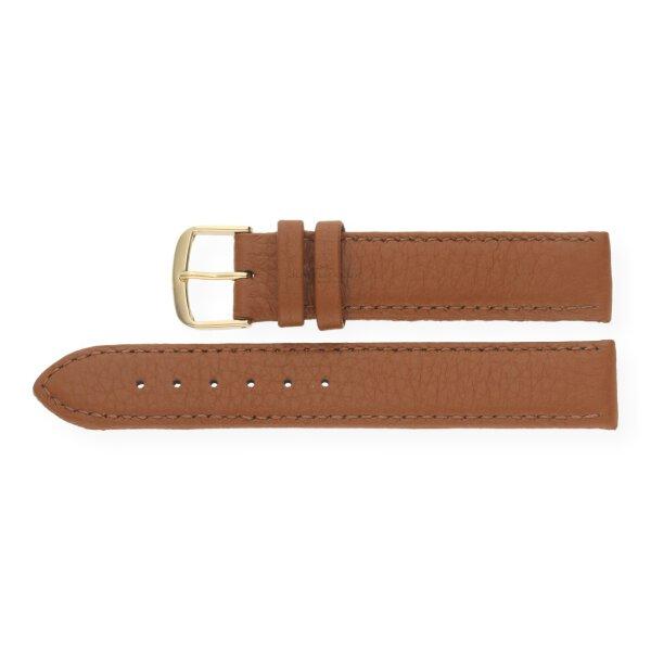 JuwelmaLux Uhrenband echtes Hirschleder braun JL38-10-0022 goldfarben 14 mm