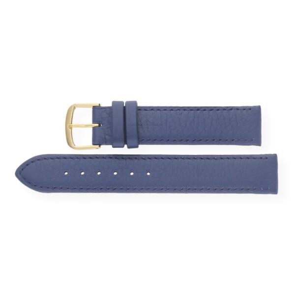 JuwelmaLux Uhrenband echtes Hirschleder blau JL38-10-0020 goldfarben 14 mm