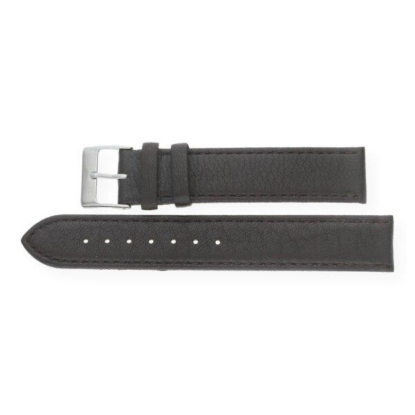 JuwelmaLux Uhrenband echtes Hirschleder braun JL38-10-0021 silberfarben 18 mm