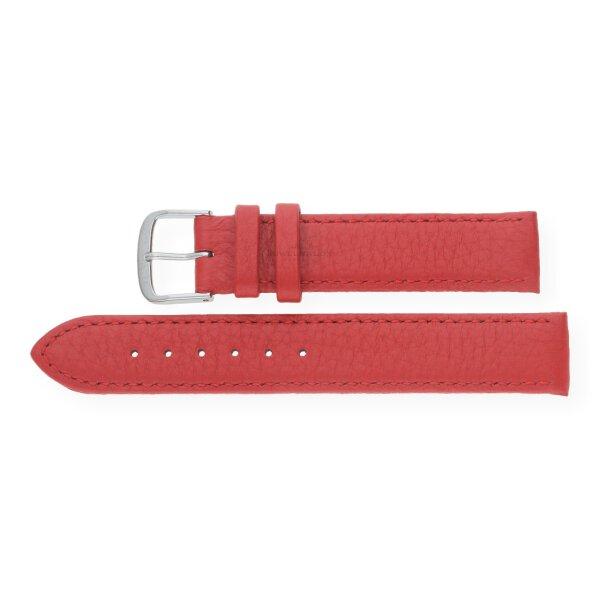 JuwelmaLux Uhrenband echtes Hirschleder rot JL38-10-0023 silberfarben 18 mm