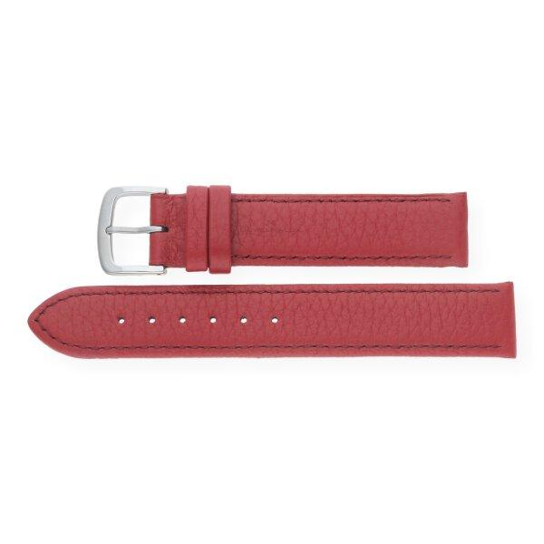 JuwelmaLux Uhrenband echtes Hirschleder dunkelrot JL38-10-0024 silberfarben 18 mm