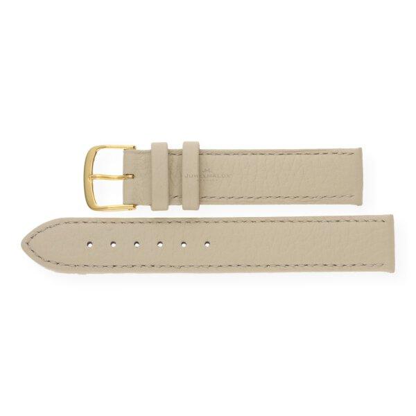 JuwelmaLux Uhrenband echtes Hirschleder beige JL38-10-0018 goldfarben 14 mm