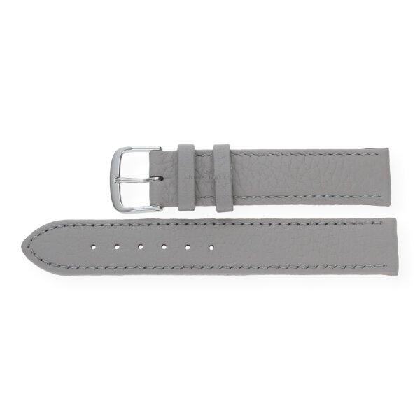 JuwelmaLux Uhrenband echtes Hirschleder grau JL38-10-0026 silberfarben 18 mm