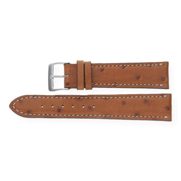 JuwelmaLux Uhrenband echtes Straußleder hellbraun JL38-10-0043 silberfarben 18 mm