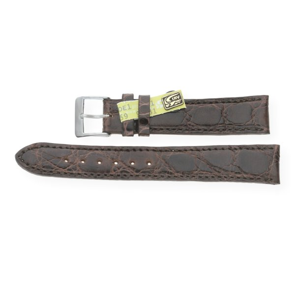 JuwelmaLux Uhrenband echt Krokodilleder glänzend braun JL38-10-0055 silberfarben 15 mm