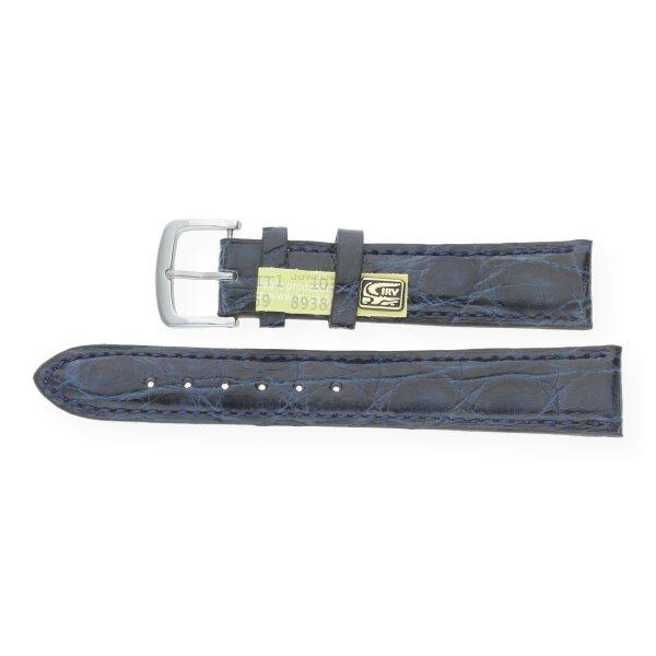 JuwelmaLux Uhrenband echt Krokodilleder glänzend blau JL38-10-0057 silberfarben 10 mm