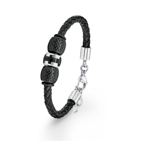 S.Oliver Herren Armband SO1372/01 Edelstahl mit Leder schwarz