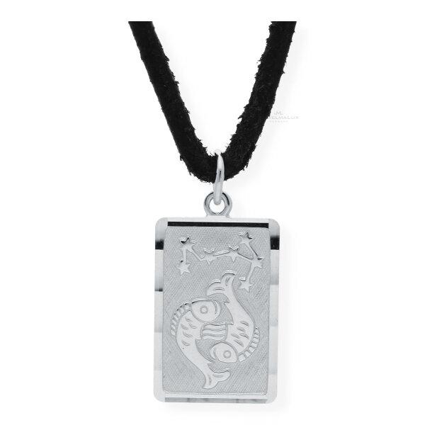 JuwelmaLux Sternzeichen Anhänger mit Lederkette 925/000 Sterling Silber Fische JL14-05-0050
