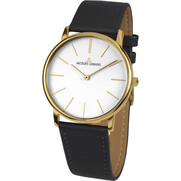 Jacques Lemans Damen Uhr 1-2004F Leder schwarz vergoldet
