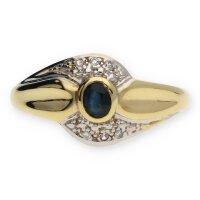 JuwelmaLux Ring 585/000 (14 Karat) Gold mit Saphir...