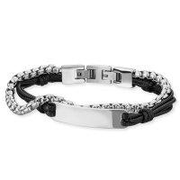 Save Brave Armband SBB-OLIVER-BK Edelstahl mit Leder schwarz