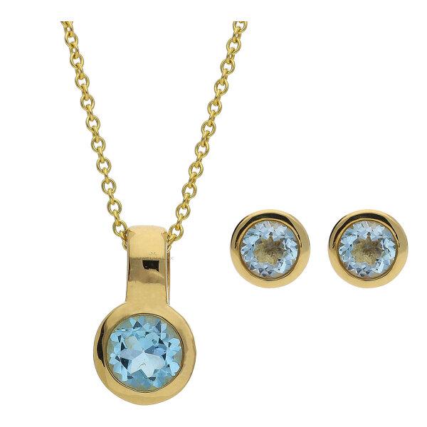 JuwelmaLux Set 333/000 (8 Karat) Gold mit Blautopas JL39-11-0235