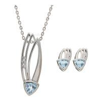 JuwelmaLux Set 925/000 Sterling Silber mit Blautopas JL39-11-0241