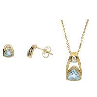 JuwelmaLux Set 333/000 (8 Karat) Gold mit Blautopas...