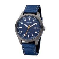 Regent Herren Uhr BA-638 mit blauen Leder- und Textilband
