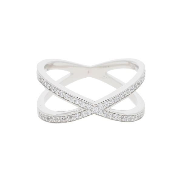 JuwelmaLux Ring 925/000 Sterling Silber rhodiniert mit synth. Zirkonia JL10-07-2272 56