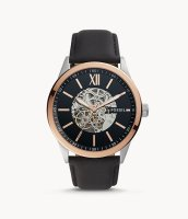 Fossil Herren Uhr BQ2383 Automatik Flynn Leder schwarz