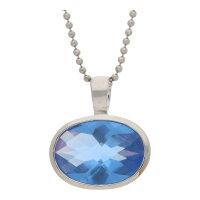 JuwelmaLux Set 925/000 Sterling Silber mit blau synth...