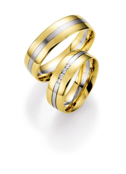 Ruesch Eheringe Weißgold und Gelbgold mit Brillanten 66/07000-065