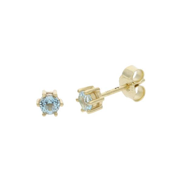 JuwelmaLux Ohrstecker 333/000 (8 Karat) Gold echter Blautopas JL39-06-0487