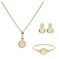 JuwelmaLux Set 333/000 (8 Karat) Gold echter Opal &...