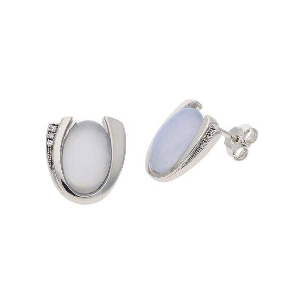 JuwelmaLux Ohrstecker 925/000 Sterling Silber mit Chalcedon, synth Zirkonia JL30-06-2081