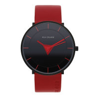 Rolf Cremer Quarz Edelstahl Armbanduhr  505707 Tri Leder Rot
