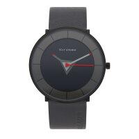 Rolf Cremer Quarz Edelstahl Armbanduhr 505705 Tri Leder grau