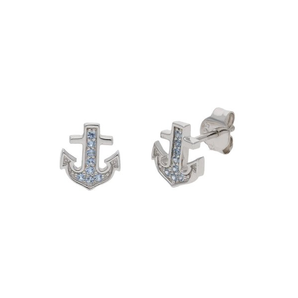JuwelmaLux Ohrstecker Anker 925/000 Sterling Silber mit hellblauen synth. Zirkonia JL39-06-0606