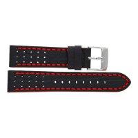 Festina Uhrenband F20377/6LB Leder schwarz mit roter Naht