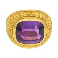 Ring 900/000 Gold mit Amethyst getragen 25320837