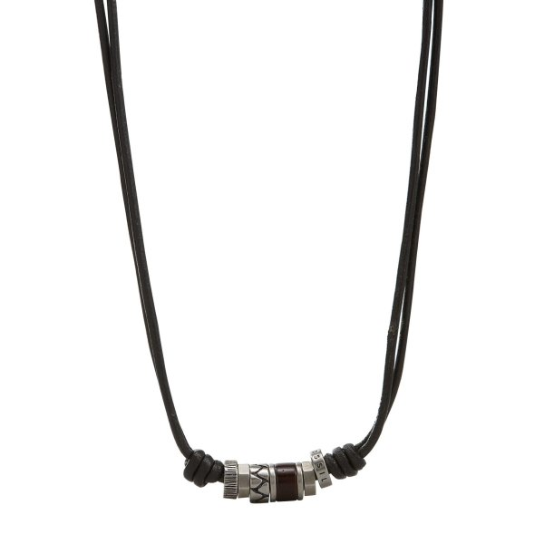 Fossil Herren Halskette JF84068040 Leder Rondeln
