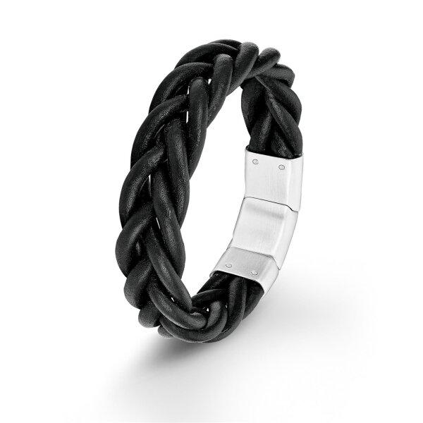 S.Oliver Herren Armband SO1388/01 Edelstahl Leder schwarz